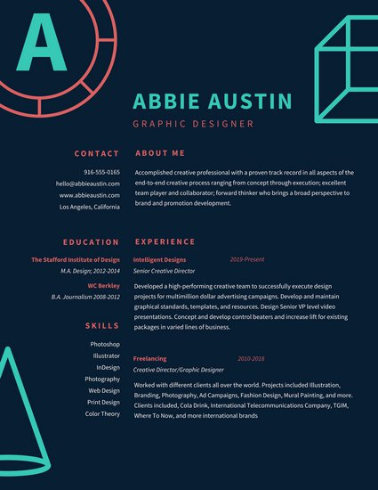 29 Awesome Infographic Resume Templates You Want to Steal - WiseStep - Resume For Graphic Designer