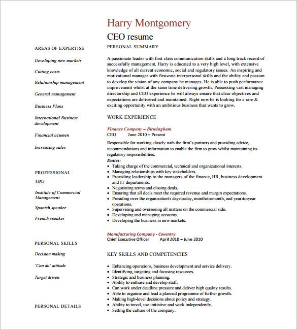 sample resume of ceo position