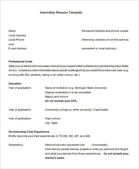 sample resume for high school internship