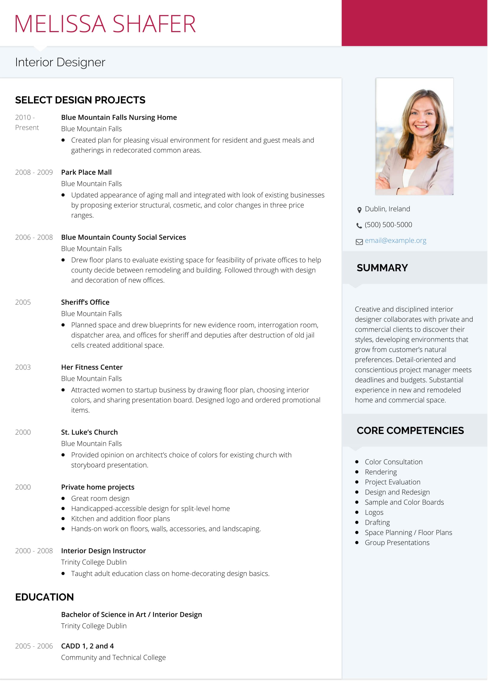 resume with photograph template