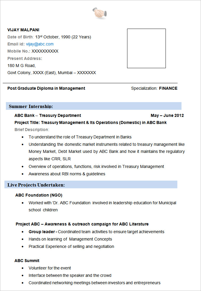 Resume Example For Mba Finance - MBA Résumé Templates