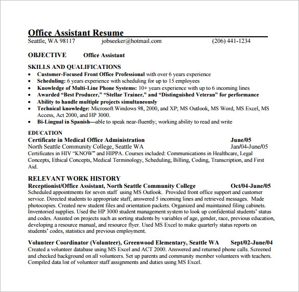 Office Assistant Resume Office Assistant Resume Entry Level Office - medical office resume