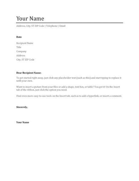 plain text cover letters