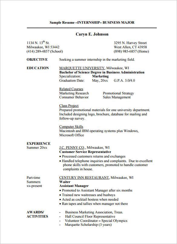 best resume examples for internships