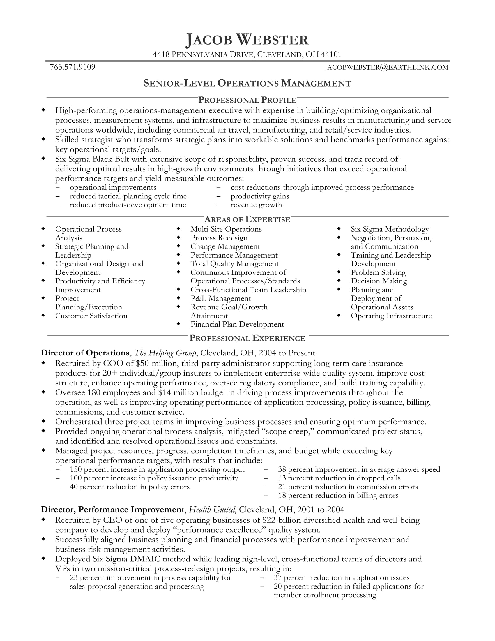 professional resume examples for executives