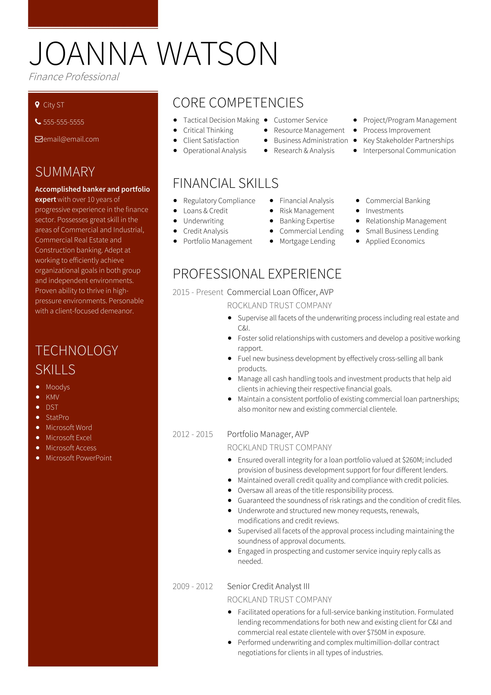 resume examples for finance professionals