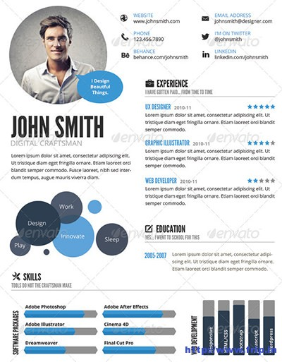 visual cv template word resume templates free download doc blue minimal