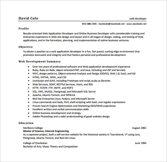 software engineer resume templates - Doritmercatodos - senior software developer resume
