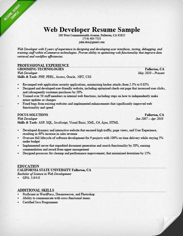 front end web developer example resume