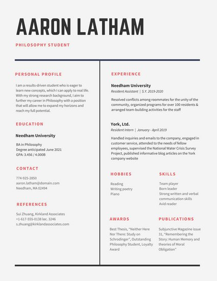 Download 29 Simple, Clean and Minimal Resume Templates - WiseStep - resume templatesd