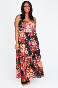 Black Vintage Floral Print Maxi Dress - PETITE Plus size ...