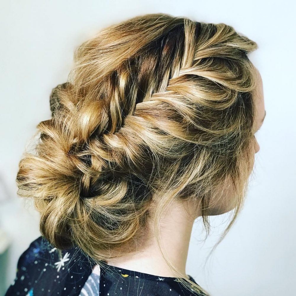 Formal Hairstyles Messy Bun With Braid