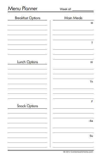 Free Printable Half-Size Menu Planner Contented at Home - printable meal planner
