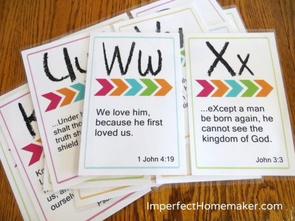 Free Alphabet Printables ABC Bible Verse Cards Contented at Home