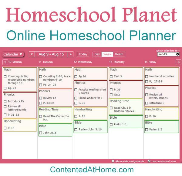Homeschool Planet Online Homeschool Planner Contented at Home