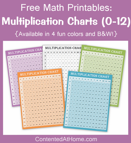 Free Math Printables Multiplication Charts 0-12 Contented at Home
