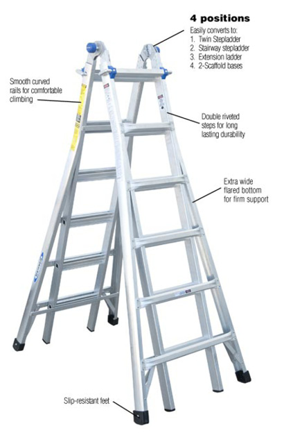 Werner Multiposition Ladder Multi Position Ft Aluminum Lb Werner 26 Ft. Reach Aluminum Telescoping Multi-position