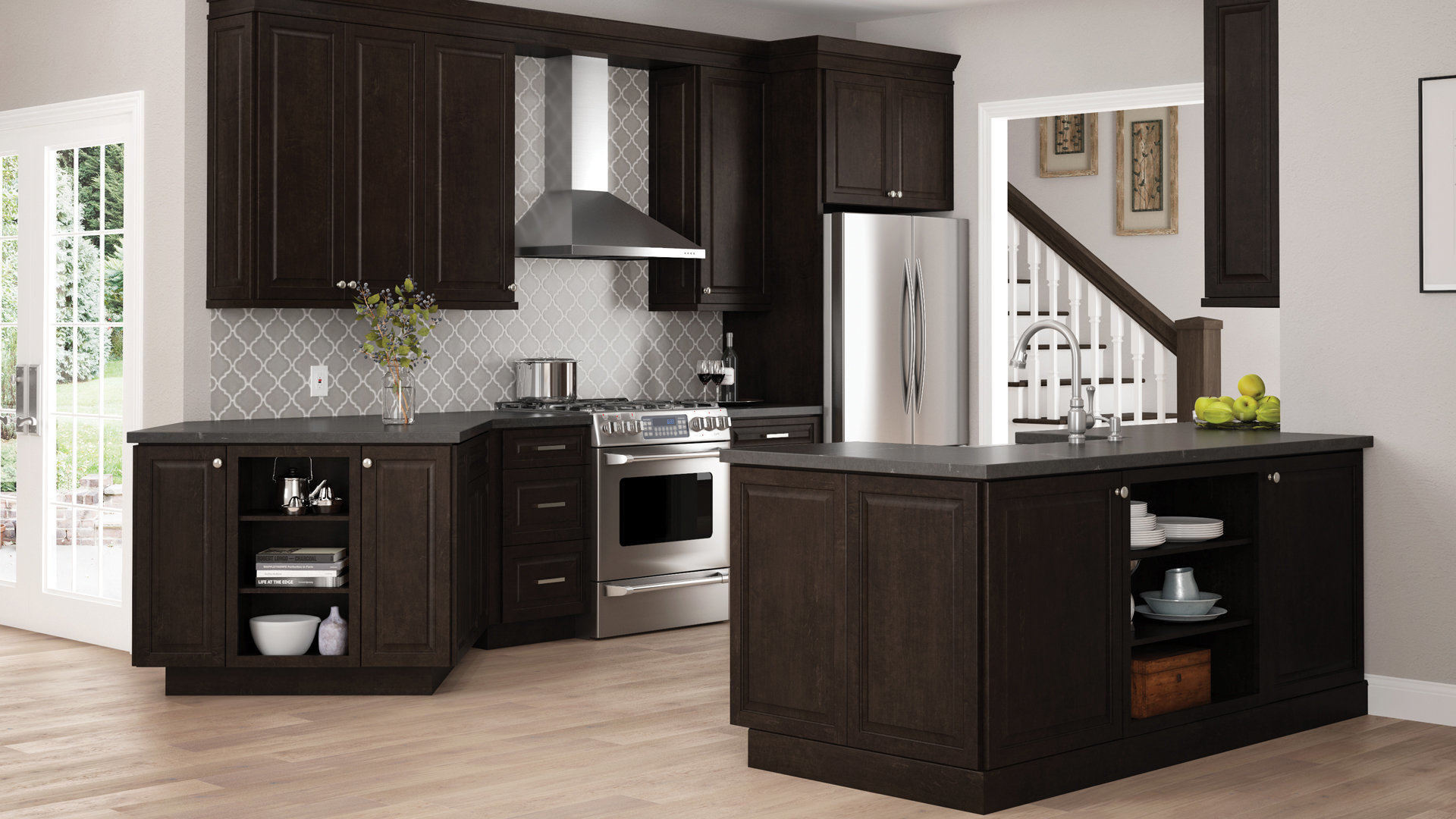 The Home Depot Kitchen Cabinets Gretna Wall Cabinets In Espresso Kitchen The Home Depot
