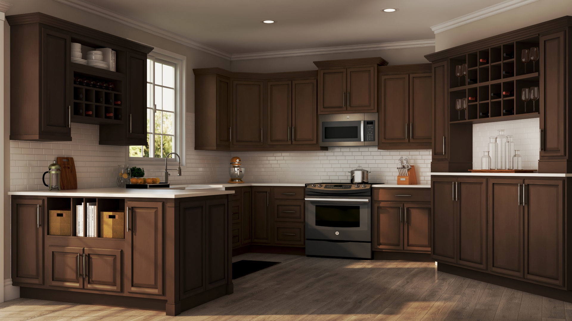 The Home Depot Kitchen Cabinets Hampton Wall Kitchen Cabinets In Cognac Kitchen The Home Depot