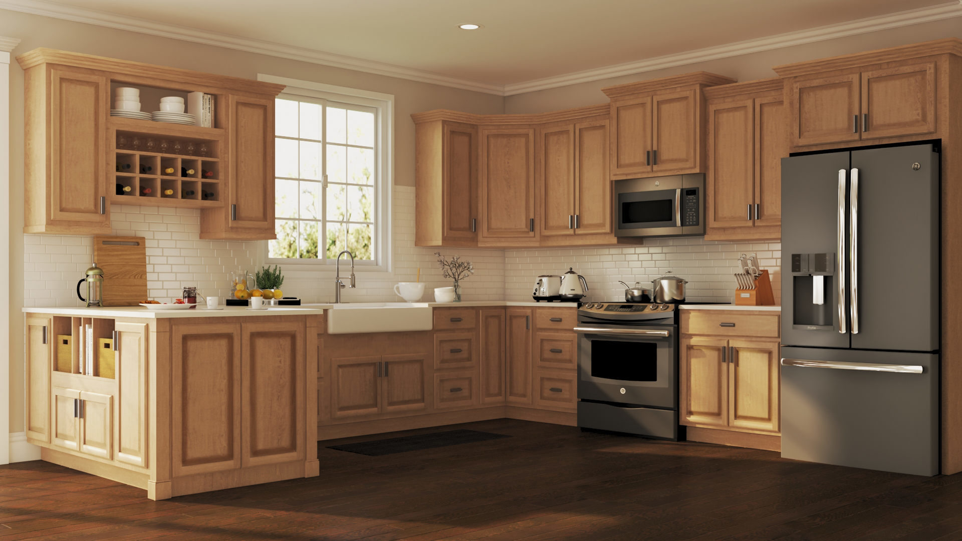 Kitchen Cabinets Wall Hampton Wall Kitchen Cabinets In Medium Oak Kitchen
