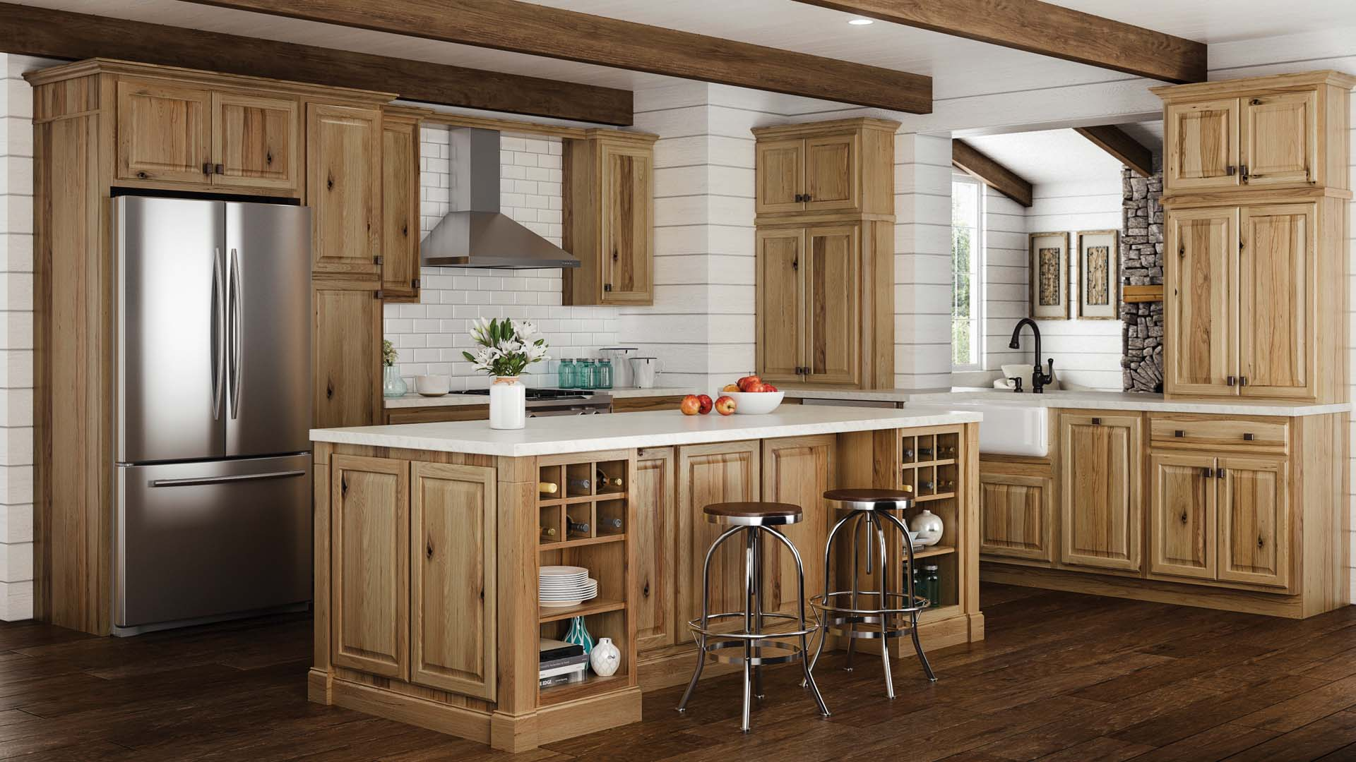 The Home Depot Kitchen Cabinets Hampton Wall Kitchen Cabinets In Natural Hickory Kitchen The