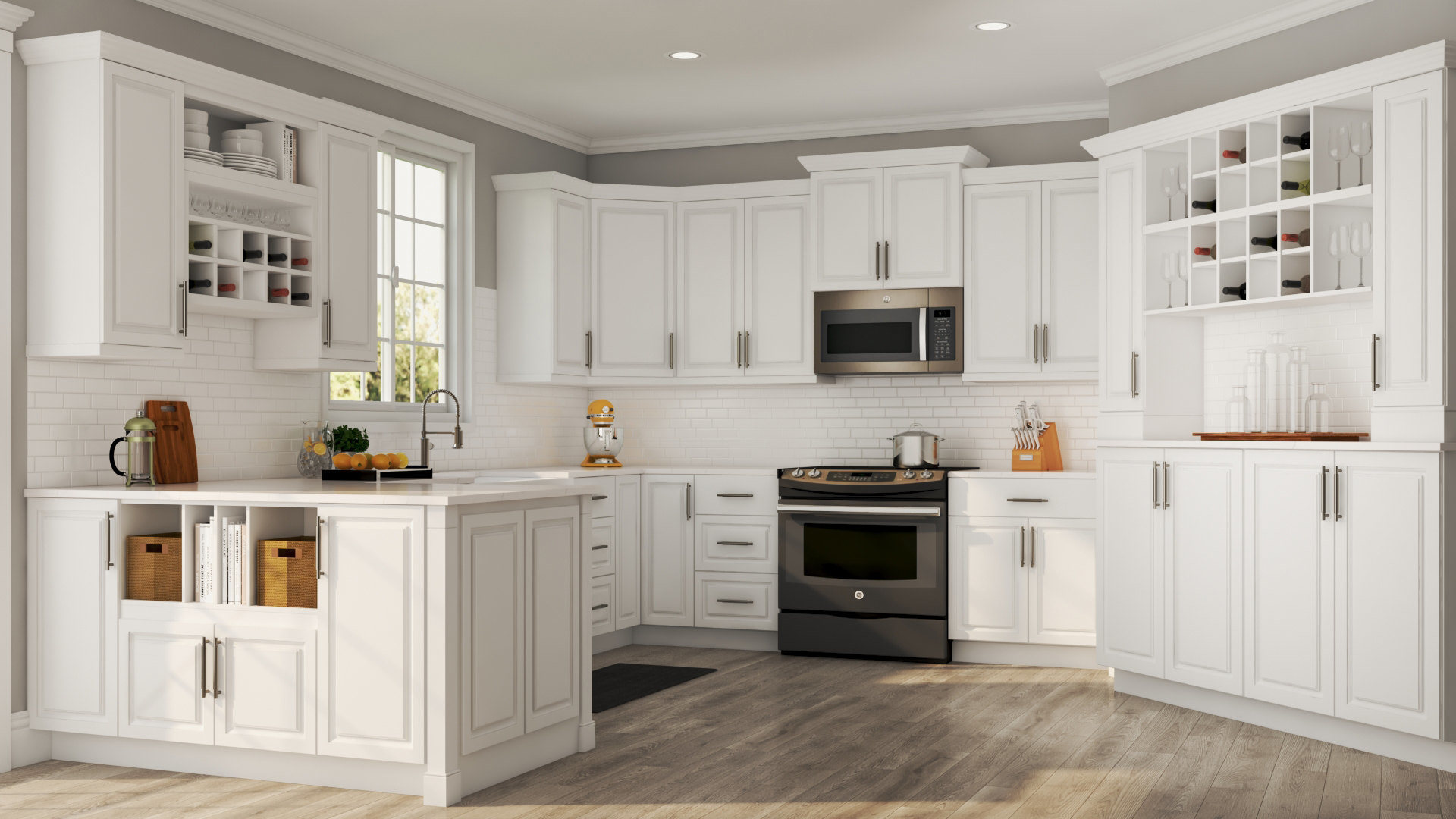 Hamptons Kitchens Hampton Wall Cabinets In White Kitchen The Home Depot
