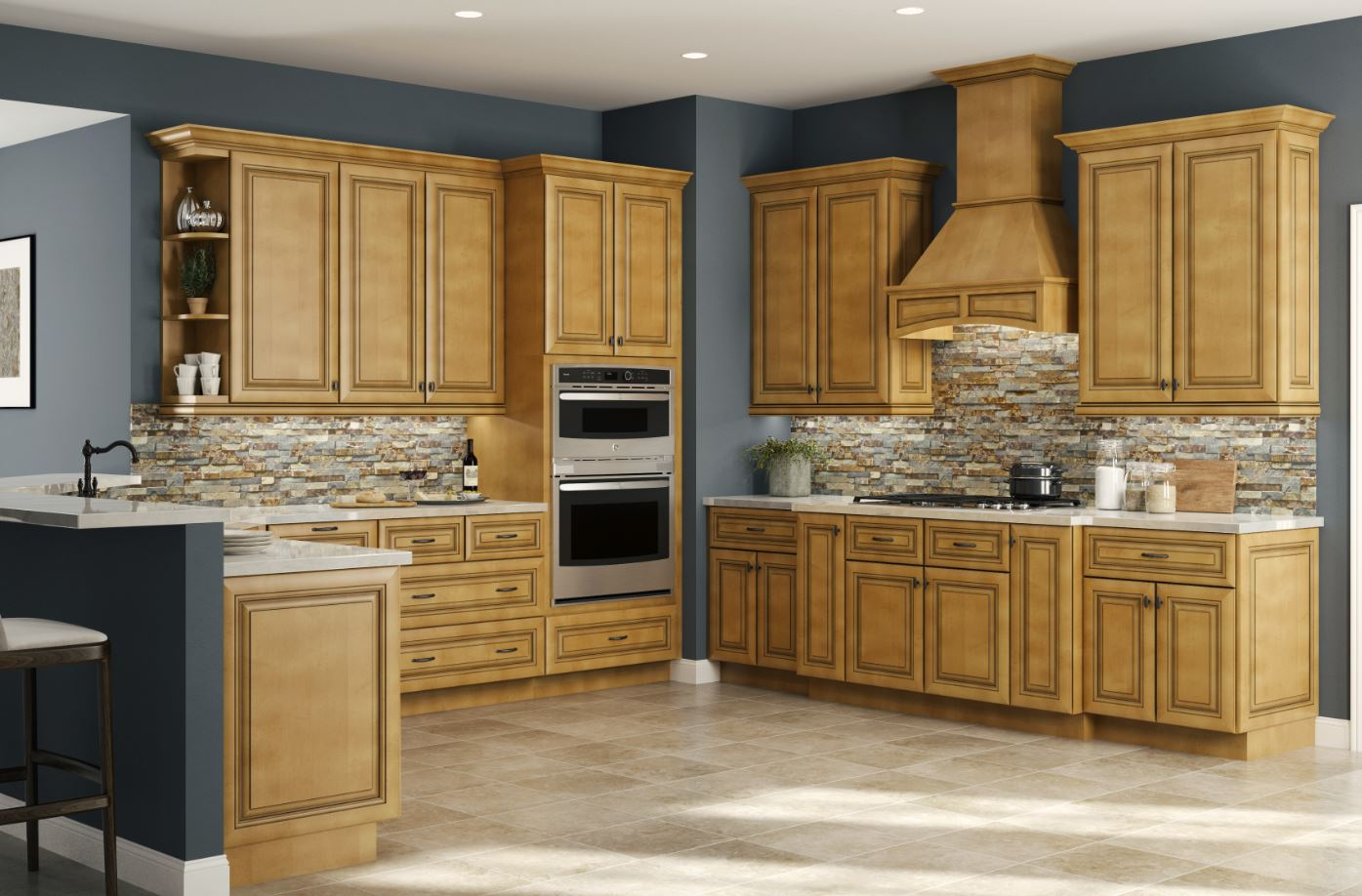 Glaze For Kitchen Cabinets Lewiston Base Cabinets In Toffee Glaze Kitchen The Home Depot