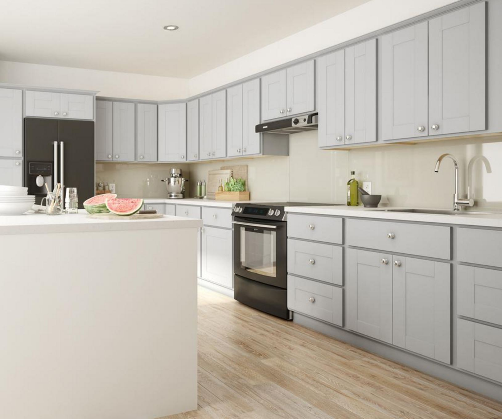 Grey Kitchen Cabinets What Colour Walls Princeton Wall Cabinets In Warm Grey Kitchen The Home Depot
