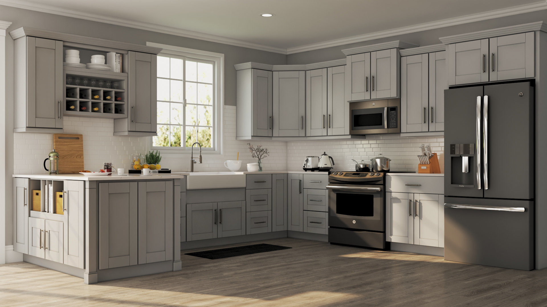 Grey Kitchen Cabinets What Colour Walls Shaker Wall Cabinets In Dove Gray Kitchen The Home Depot
