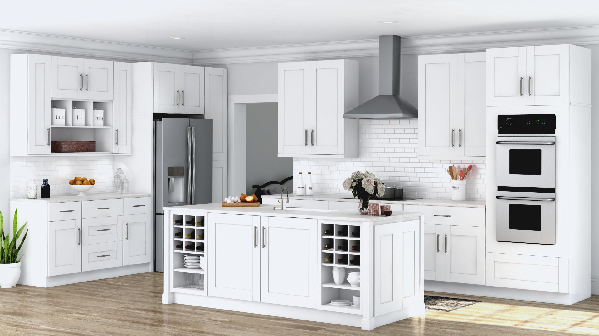 Cupboards Kitchen Shaker Wall Cabinets In White Kitchen The Home Depot