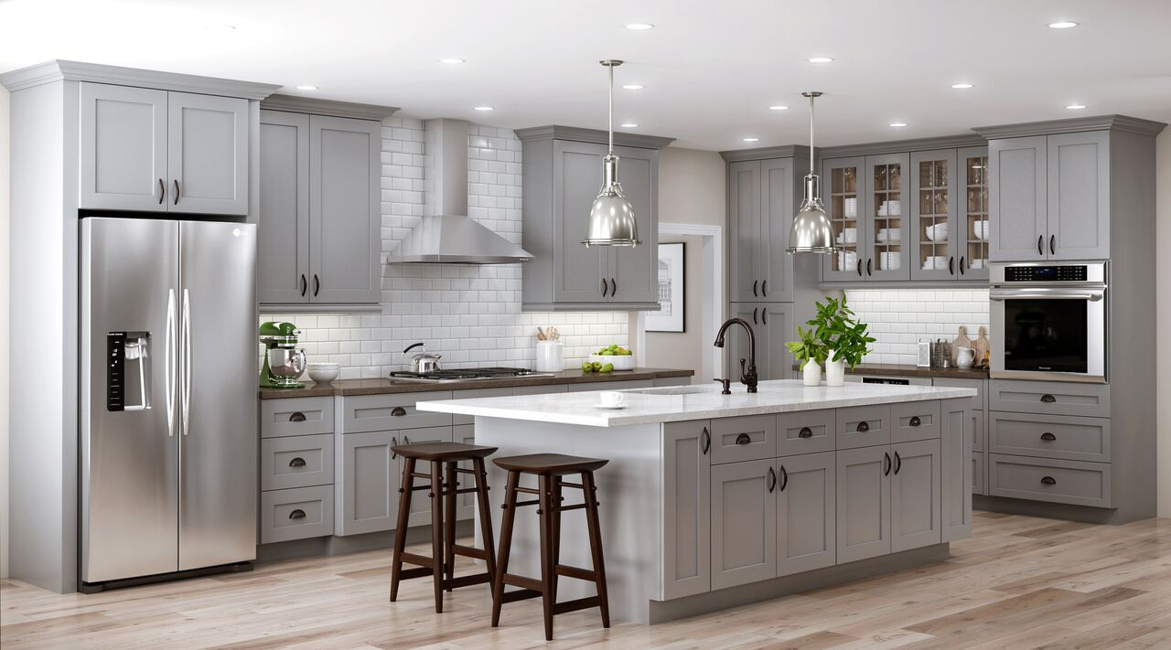 Grey Kitchen Cabinets What Colour Walls Tremont Wall Cabinets In Pearl Gray Kitchen The Home Depot