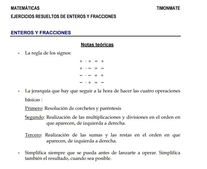 Ejercicios Resueltos De Numeros Enteros Y Fracciones Juan