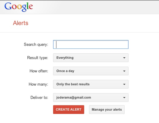 google alerts sources for curation