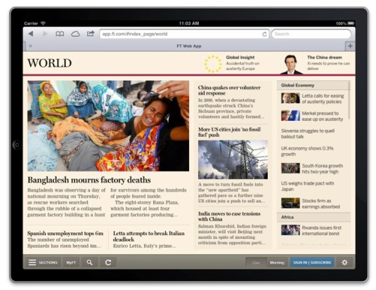 financial times-created web app