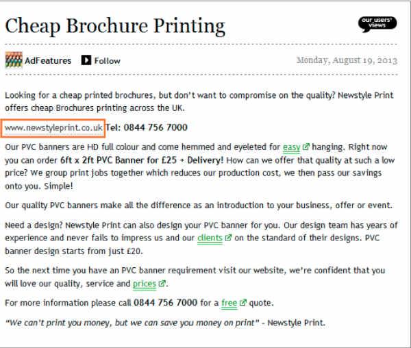 cheap brochure printing example