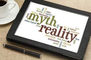 tablet screen-myth/reality word cloud