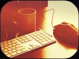 keyboard-coffee cup-hand on mouse