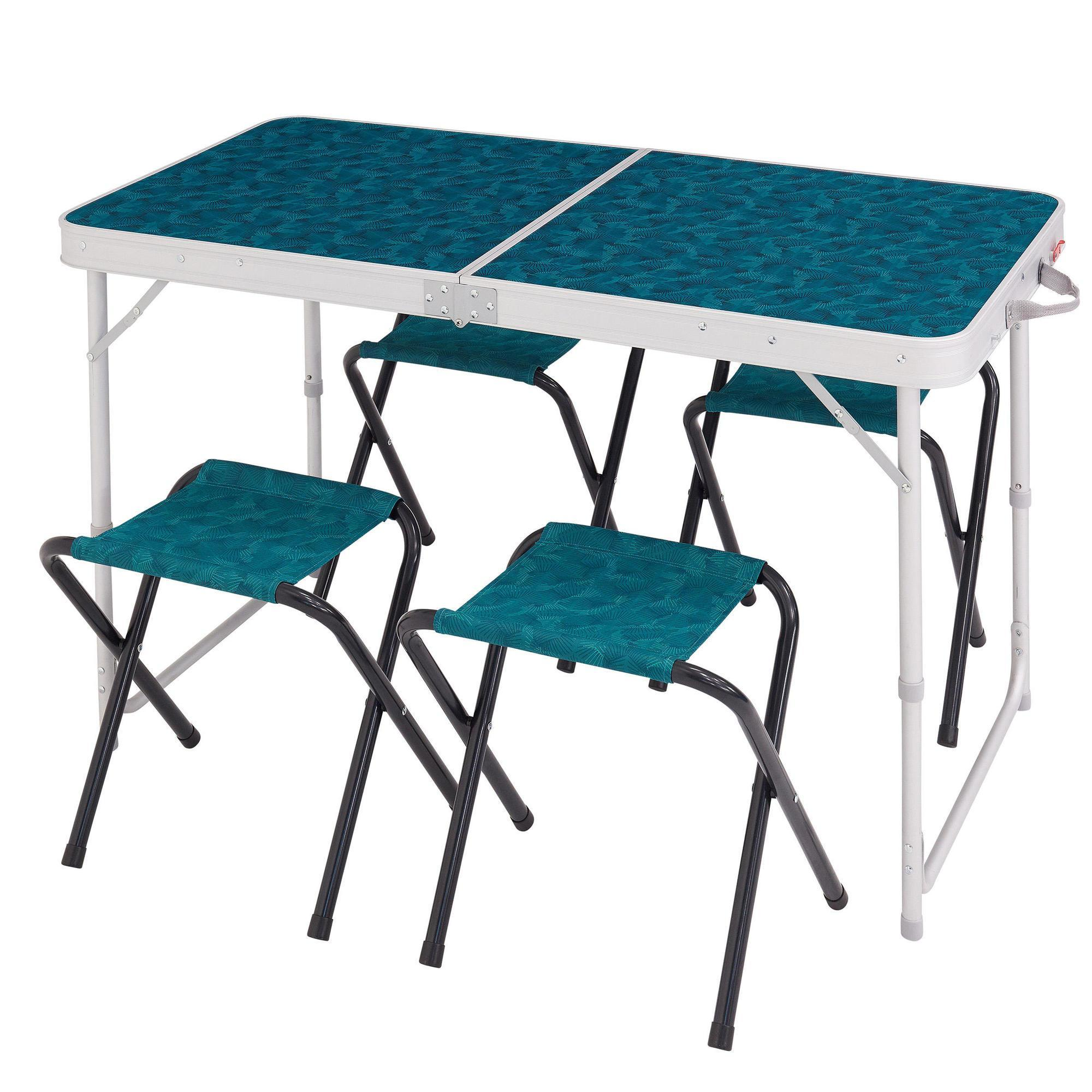 Table Valise + 4 Tabourets Table De Camping Pliante Avec 4 Tabourets