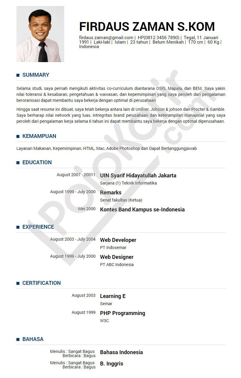 Contoh Curriculum Vitae Bahasa Indonesia Terbaru Professional