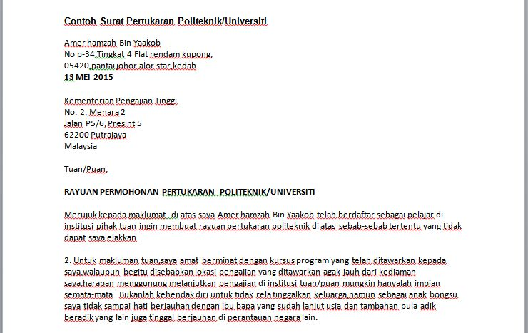 contoh surat rayuan politeknik universiti contoh resume