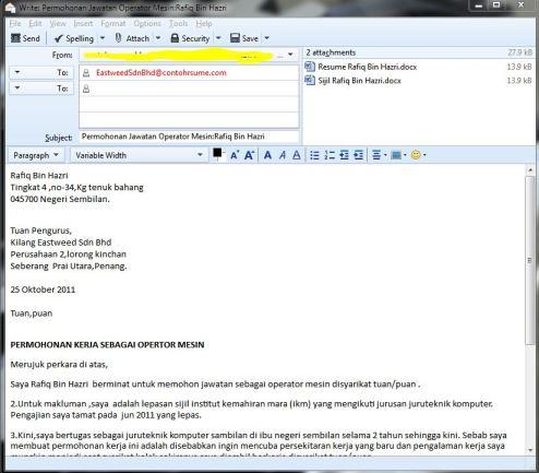 Email Surat Iringan Dan Resume