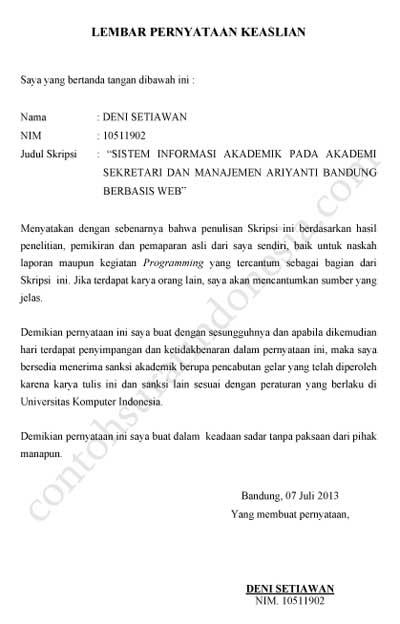 Contoh Surat Izin Untuk Penelitian Mahasiswa Contoh Surat Resmi Download Gratis Contohsuratorg Contoh Surat Pernyataan Keaslian Skripsi Tugas Akhir Surat