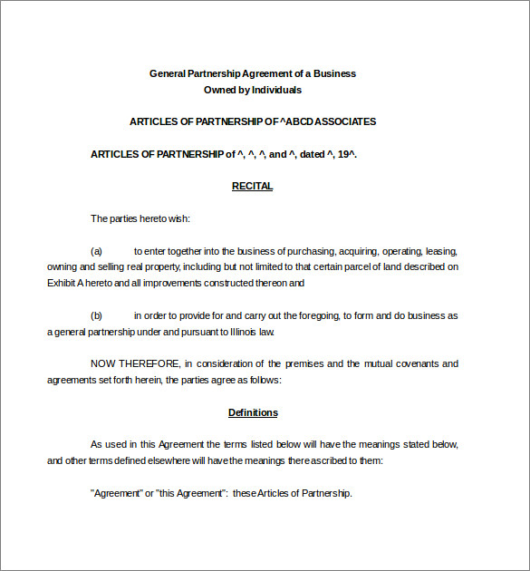 Partnership Agreement Templates Contract Templates - simple contract template