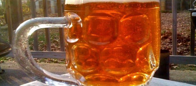 Mug of beer on the patio.