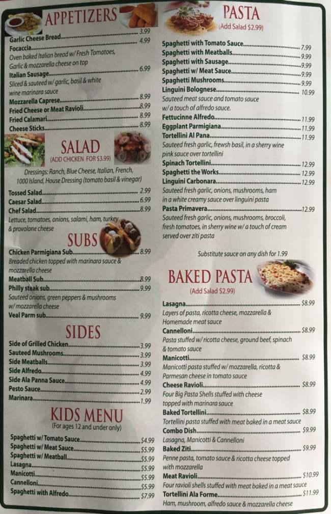 Verona Italian Restaurant Menu, in Conway, AR