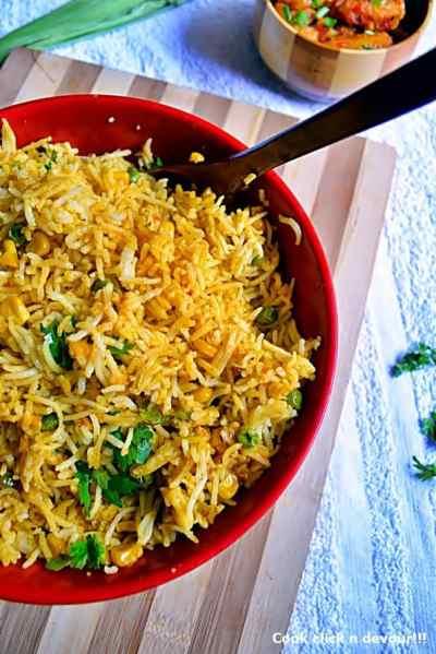 Corn peas pulao recipe | how to make peas-corn pulao recipe