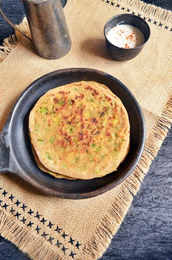cheese capsicum paratha recipe3