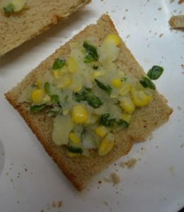 Corn potato open toast step 3