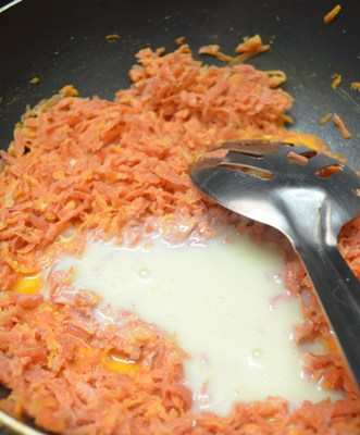 carrot halwa recipe-add condensed milk
