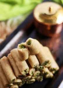 Kaju pista roll recipe | Diwali 2015 sweets recipes
